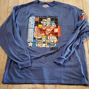 New Super Mario Long Sleeve Blue Shirt Size 2XL